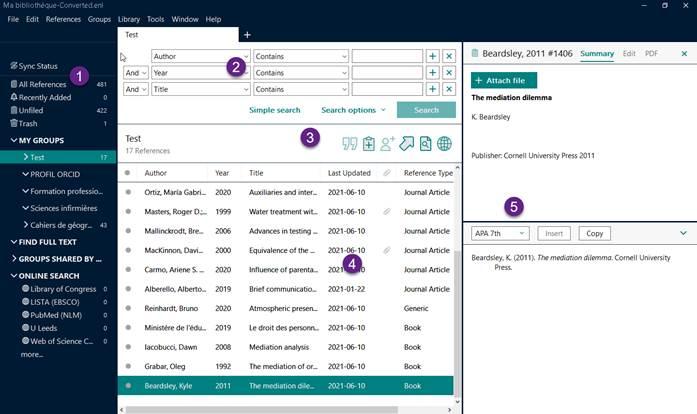 Capture écran de l'interface EndNote X9